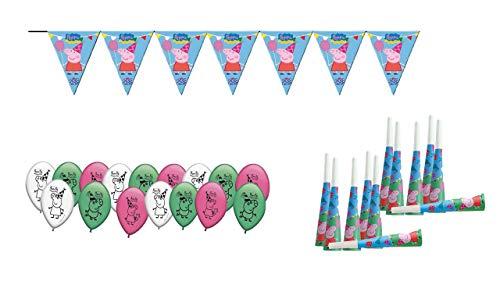 ALMACENESADAN 0473, Packung Dekoration Party und Geburtstag Peppa Pig, 16 Ballons, 12 Trompeten, 1 Wimpel 3 Laufmeter