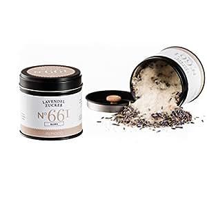 Bio Lavendelzucker N°661 - die Süße Frankreichs, in eleganter Gewürzdose mit doppeltem Aromadeckel, Inhalt: 100g