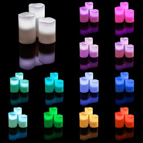 TecTake Velas LED con control remoto y temporizador cambio de color cera real (2x Set de 3 piezas | no. 402888)