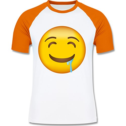 Shirtracer Comic Shirts - Emoji Wasser IM Mund - Herren Baseball Shirt Weiß/Orange
