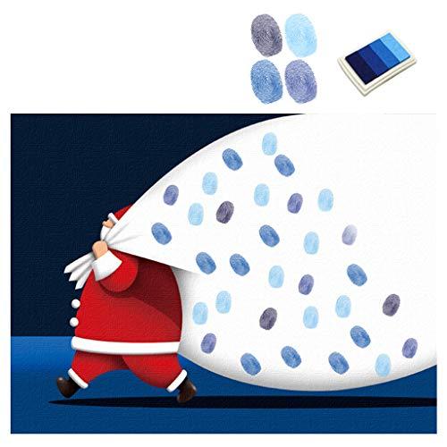 GROOMY Weihnachtsdekoration, DIY Santa Nacht Fingerabdruck Leinwand Malerei Hochzeit Parteien Unterschrift Dekoration, 1 Ohne Klebstoff Kleber