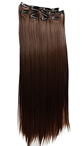 PRETTYSHOP XXL 8 pcs full Head Set Clip In Hair Extensions Hairpiece Smooth Straight Heat-Resisting 24