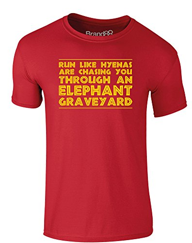 Brand88 - Run Like Hyenas Are Chasing You, Erwachsene Gedrucktes T-Shirt Rote