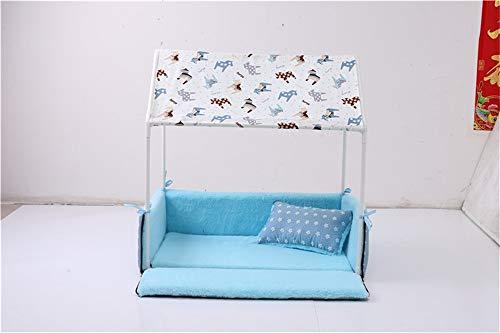 Aufgesetzter kreativer Raum des kleinen Hauskätzchenwelpen abnehmbare Hundehausherbst- und -winterhundeauflage-Katzenauflagenhaustierversorgungen (Color : Blue)