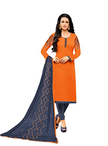 Orange Color Thread work And patch work Semi-stitched Party Wear Cotton women...