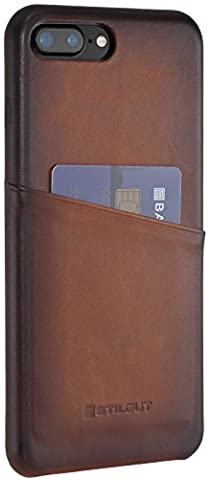 StilGut Premium Vintage, coque en cuir porte-cartes iPhone 7 Plus (4.7 Zoll), cognac antique