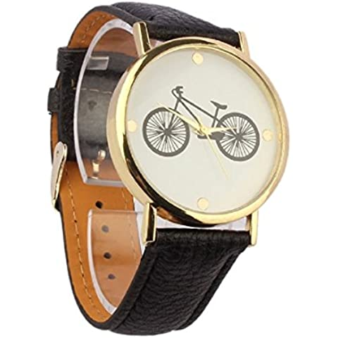 Reloj de Muñeca para Hombre, bigban Unisex Fashion de bicicleta Dial Cuero Banda Cuarzo Analógico Funda