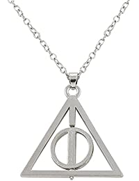 Oviya Silver Brass and Alloy Rhodium Plated Rotating Triangular Unisex Pendant with Long Chain