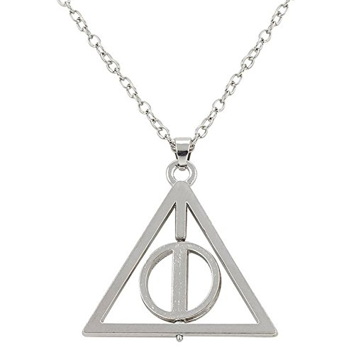 Oviya Rhodium Plated Deathly Hallows Rotating Triangular Unisex Pendant with Long Chain PS7201582RC