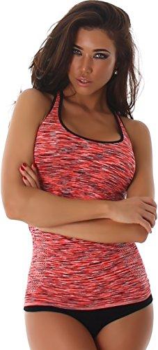 Jela London Damen Fitness-Top Träger Stretch Tanktop Jogging Sportswear (DE 32/34/36) Set (Blau + Apricot-Orange + Schwarz-Weiß)
