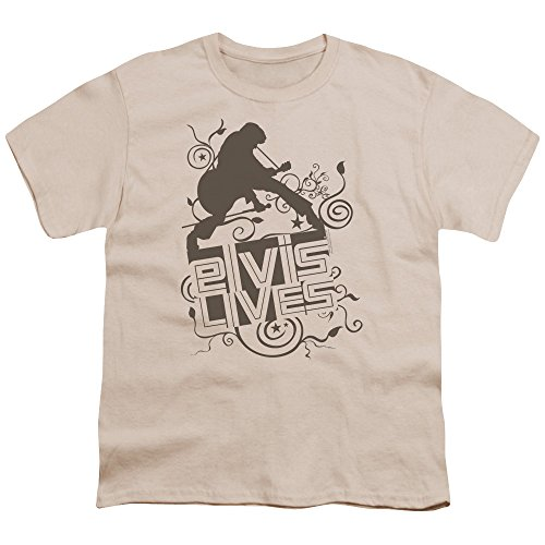 Elvis - Elvis lebt - Jugend-Natur Kurzarm T-Shirt für Jungen, Youth X-Large, Natural (Jugend-natur-t-shirts)