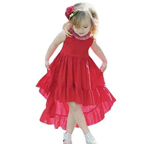erthome Kleinkind Baby mädchen ärmellose Feste Weste Dress rüschen Kleider Kleidung (12-18 Monate, Rot)