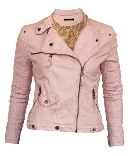 Softy Damen Lederjacke in 30 Farben Biker Style 0508 Vegan Leder Rosa