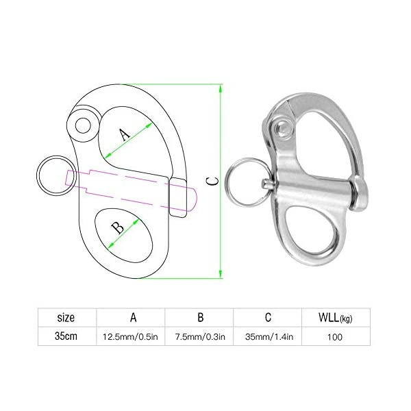 Alomejor Snap Shackle Stainless Steel Material Quick Yacht Rigging Release with Round Ring