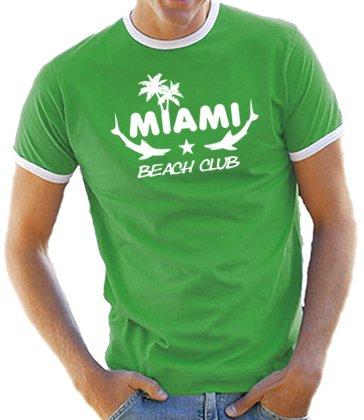 Miami - Beach Club Kontrast / Ringer T-Shirt Kelly Green/White, S (Ringer Green Kelly)