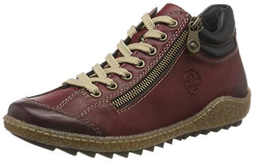 Rieker Damen L7516 Hohe Sneaker, Rot (Wine/Schwarz 37), 39 EU