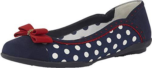 Ruby Shoo Ladies Lizzie Navy Spots 1950'S Ballerina Pumps VEGAN Shoes 09294-UK 9 (EU ()