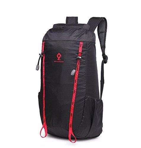 LF&F Backpack 20-35L Kapazität wasserdichtes Nylon Sportrucksack Reise Wandern Bergsteigen Camping Reittasche Outdoor-Tasche Wasserbeutel Rucksack Multifunktions-Unisex Multi-Pocketed Black