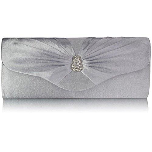 Xardi London-Frizione a punta in Diamante, motivo: borsetta da donna, per abiti da sera Argento (argento)