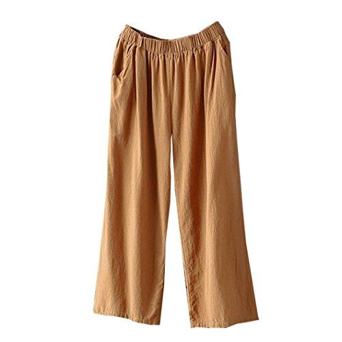 Pantalon Lin Pants Ample Couleur Unie Femme Casual Loose Pantalon Ceintur Chic SANFASHION Automne Hiver(Kaki Loose,34FR/M)