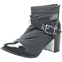 Sopily - Zapatillas de Moda Botines bimaterial Tobillo mujer Hebilla brillantes Talón Tacón ancho alto 8 CM - Negro