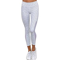 Leggings deporte mujer push up , ❤️ Amlaiworld Mujer Skinny Fitness Leggings Pantalones deportiva niña leggins push up cintura alta mallas de yoga Pantalones atléticos Fitness deportivos mujer Sports Gym Yoga (Blanco, S)