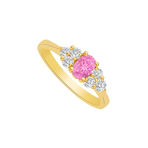 Pink Sapphire and CZ Seven Stones Ring 2 CT TGW - 2ct Cz Ring Engagement