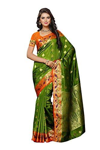 MIMOSA By Kupinda Women's Paithani Art Silk Saree Kalamkari Style Color :Olive...