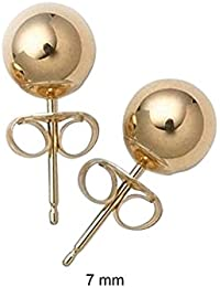 Bling Jewelry Hollow Bead 14k Yellow Gold Ball Stud Earring 7mm