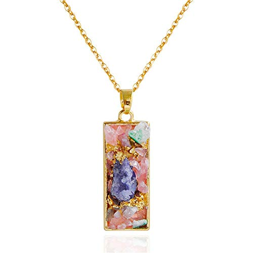 HJTLK Geometrische Druzy Anhänger Natürlichen Kristall Halskette, Trendy Choker Gold Kristall Quarz Halsketten Schmuck für Frauen 26 ''