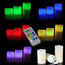 kunfo LED de vela de luces con mando a distancia Navidad iluminación LED Vela sin llama luces batería flackernde LED Velas de té con temporizador, decoración para Navidad, Boda, cumpleaños, Party.(Pila AAA no incluido)