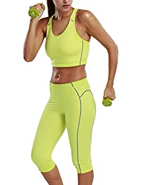 La Isla Damen Workout Sport Set - BH Top Mit Hosen Capri Leggings 3/4 Pants