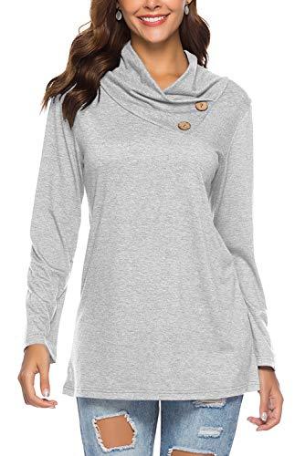 Dasbayla Damen Pullover Langarm Sweatshirt Rollkragen Bluse Oberteile Tshirt Top mit Tasten Grau XXL