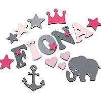 Holzbuchstaben Kinderzimmertür, Dekobuchstaben, in tollen Farbkombinationen I Inkl. 2 Sternen sowie Klebepads I Perfektes Geburtsgeschenk oder Taufgeschenk I Größe 7cm
