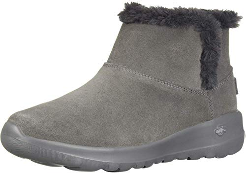 Skechers On-The-go Joy-Bundle Up, Botines para Mujer, GrisMarengo/Charcoal Suede Charcoal, 41 EU