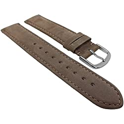 Herzog watch strap Brown Suede | Spare Band Available in a Brown 16 mm - 22 mm Bridge Size 20 mm, Clasp Width: Silver