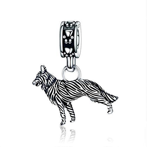 HSUMING Schäferhund Anhänger Sterling Silber Perlen DIY Schmuck Armband Zubehör, Beste Partner (SCC190) (Mode Kostüm Schmuck China)