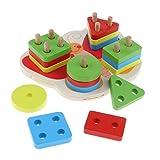 D DOLITY Holz Steckpuzzle Farbe & Form Sortierspiel Puzzle Steckspiel Sortier Holzspielzeug für Kinder ab 3 Jahren - # 2