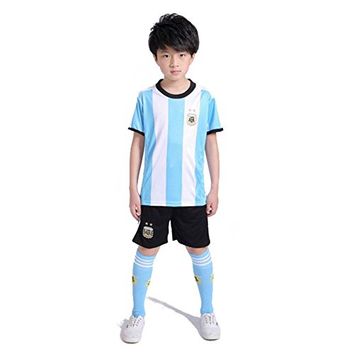ba6f1a155af SODIAL Family Breathable Sportswear Soccer Set World Cup Argentina Soccer  Jerseys Uniforms Football Kit Shirt Tracksuit(Kids