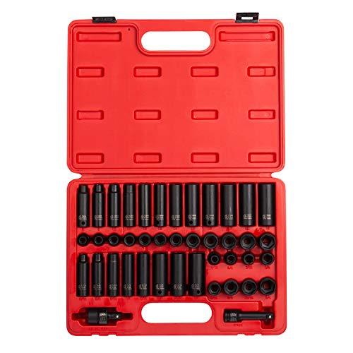SUNEX 3342 3/20,3 cm Drive Master douilles à choc, pouces/métrique, Standard/profonde, 6 pans, Cr-Mo, 5/40,6 cm - 3/10,2 cm, 10 mm - 19 mm, 42 pièces