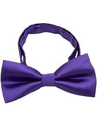 Kids Pre Tied Formal Bowties - Solid Color Adjustable Silk Wedding Tuxedo Bow ties