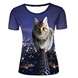 Womens 3D T-Shirt Print Cute Cat with Building Light City Street Night Short Sleeve Casual Tees Fashion Couple Tees Tops S