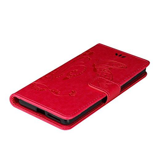 Custodia Xperia E5, ISAKEN Flip Cover per Sony Xperia E5 con Strap, Elegante borsa Tinta Unita Farfalla Design in Sintetica Ecopelle PU Pelle Protettiva Portafoglio Case Cover con Supporto di Stand /  Farfalla: pink