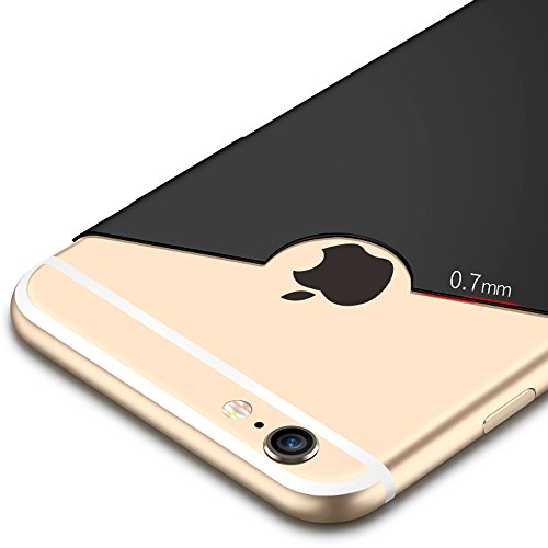iPhone 6 case, IPHOX iPhone 6s Case Silicone Shockproof Luxury 3in1 Hybrid Impact Anti-Slip Hard Protective Cover for Apple iPhone 6 6s 4.7 Inch (Rose Gold) Black-Matte