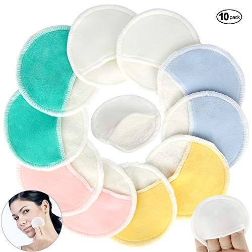 Pinowu Bio Bambus Make-up Entferner Pads mit Fingertasche (10 Stück) - 3 Schicht Wiederverwendbar Natürlich Baumwolle Runden mit Wäschesack für Auge Make-up entfernen Gesicht abwischen (5 farbe)