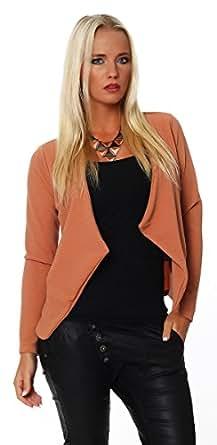 4603 Fashion4Young Damen Kurzjacke Blazer Jäckchen Jacke kurze Bolero-Design verfügbar in 8 Farben (36/38, Braun)
