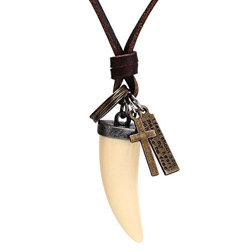 Bishiling Herren Lederkette Halskette mit Anhänger Wolfzahn Surferkette Einstellbar Verstellbaren Kette Beige Beige -