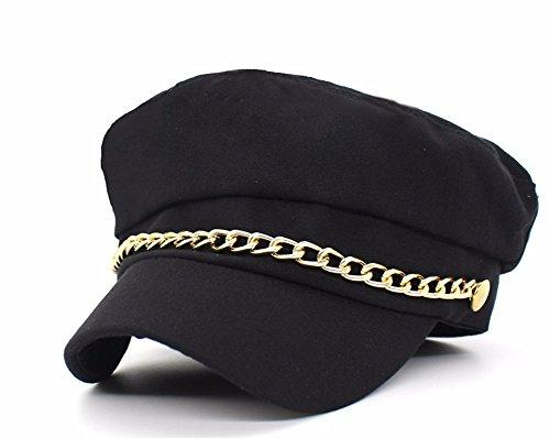 Roffatide Unisexo Cerrado Gorras Militares Hombre Mujer Monocromático Admiral Marinero Capitán Sombreros Negro