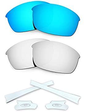 HKUCO Blue/Silver Polarized Replacement Lenses and White Earsocks Rubber Kit For Oakley Flak Jacket Sunglasses