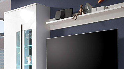 Wohnwand – Weiße Anbauwand mit LED-Beleuchtung Bild 3*